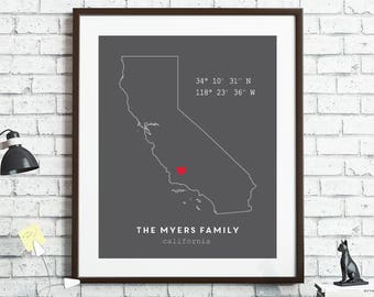 Custom Coordinates, California Wall Art, Personalized Home Coordinates Print, Latitude Longitude, New Home, Housewarming Gift, Custom State