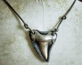 Bronze Shark Tooth Necklace - Pirate Jewellery - Bronze & White Bronze on Leather