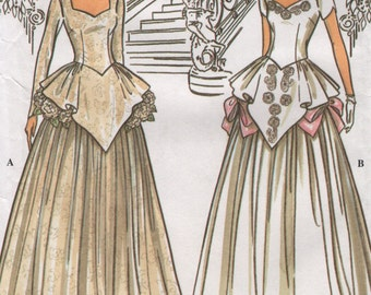Vintage Wedding Gown with Peplum Overlay & Sweetheart Neckline, Sleeve Options, Womens Size 6 8 10 12 Uncut Sewing Pattern