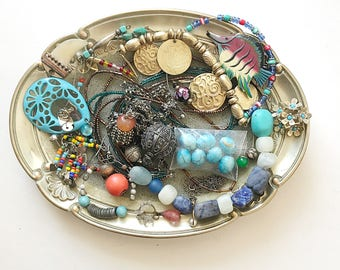 BOHO vintage DeStash Lot! Awesome Price!! GORGEOUS Costume jewelry lot, salvage, supply lot, bead lot, up cycle, repair, repurpose LOT B10
