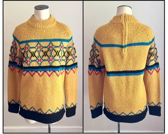 Vintage 1960s 60s Su Lee Misses' Wool Sweater Ochre Yellow 2 4 6 8