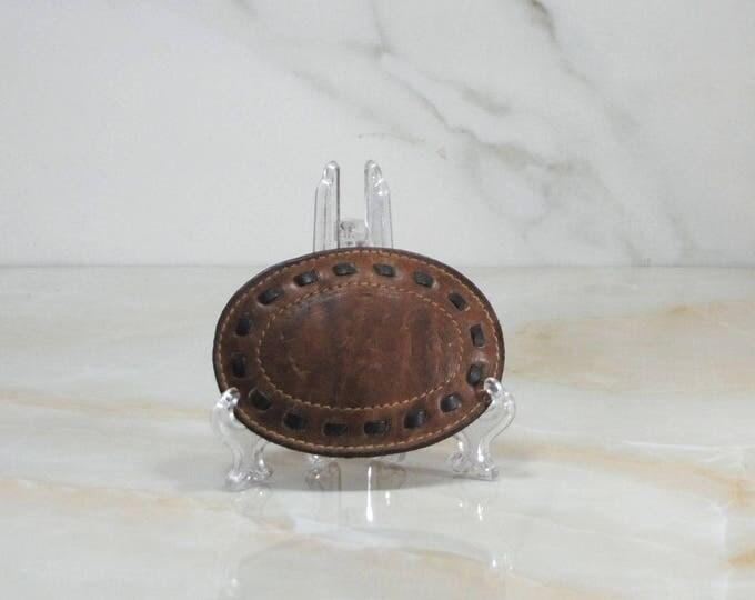 Vintage Belt Buckle, Leather Buckle, 1970s, 890, Tooled Leather, Western Buckle, Rodeo uckle, Cowboy, Leather Belt Buckle, Metal Insert