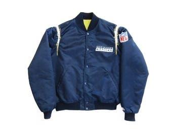 vintage jacket / Starter jacket / Chargers jacket / 1980s navy satin San Diego Chargers Starter jacket Large