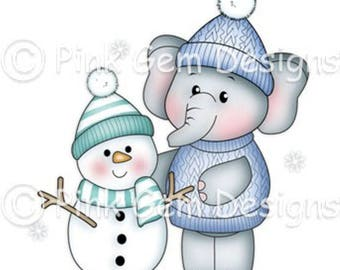Digi Stamp  'Ella with Snowman'  - Christmas. Baby's First Christmas Cards etc Elephant