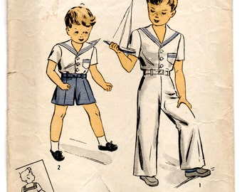 """1940's DuBarry Sailor Outfit Pattern - Breast 21"""" - No. 5806"""