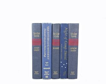 Faded Blue Denim BOoks, DECORATIVE Books, Old Book Set, Vintage Book Decor, Book Collection, Instant Library Books shelf decor