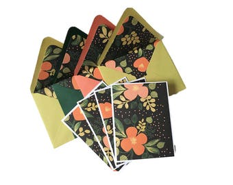 Set of 4 // Blank Note Cards // Floral Note Cards // Floral Stationery / Floral Cards / Blank Stationery / Rifle Paper Co / Green Stationery