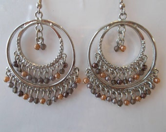 Silver Tone Double Hoop Earrings with Silver and Gold Dangles