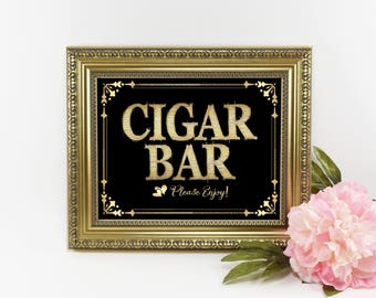 Great Gatsby Wedding Sign | Gatsby Party Sign, Cigar Bar Sign, Cigar Sign, Black Gold Wedding Sign, Wedding Cigar Bar, Great Gatsby Sign