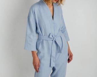 Sky Blue Kimono Jumpsuit - Kimono Linen Jumpsuit - Women Kimono Overall - Linen Overall - Linen Romper - Handmade by OFFON