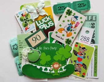 Green Scrap Pack / 30 Pc. Vintage Lucky Green DIY KIT St Patrick's Day Theme Ephemera for Altered Art, Mixed Media, Collage, etc.
