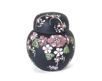 Artist Decorated Miniature Ginger Jar - black with Cherry Blossoms