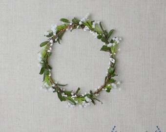 Flower Crown, Boho Wedding, Green Flower Crown, Greenery, Floral Crown, Baby's Breath, Faux Baby's Breath Crown, Wedding Crown, Eucalyptus