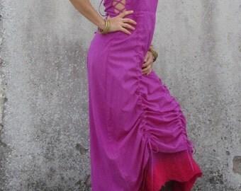 Dress ~ Natural clothing ~ Nuno felt edged dress ~ Woodland ~  Fairies ~ Maxi corset ~ Full length dress