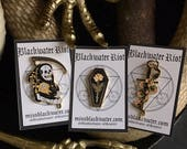 Memento Mori - The Complete Collection - lapel pin series AND Sew on Patch - black and gold