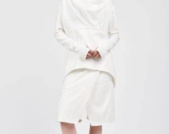 NEW Fall Off White Extravagant Asymmetric Cotton Hooded Sweatshirt /Thumb holes Sexy zipper front / Large Front Pocket  by AAKASHA A08533
