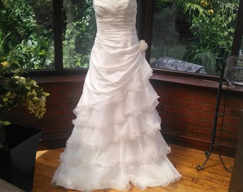satin organza frilled wedding dress with train fairytale dress has crystals pearl neckline ajustable lace up back uk size 20 and usa size16