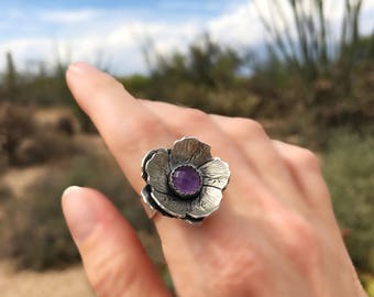 Purple Amethyst Ring For Her, Handmade Sterling Flower Jewelry, Cocktail Ring For Women, One OF A Kind Gift, Holiday Gift, Metalsmith.