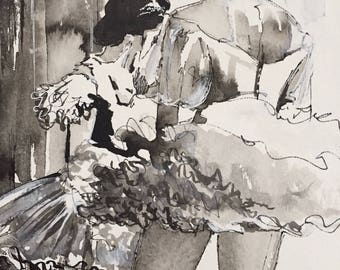 Ballerinas Original Watercolor Painting, Black and White, Ballet Dancers, Ballerina Inspired, Traditional Art, Lana Moes Art, Dance Painting