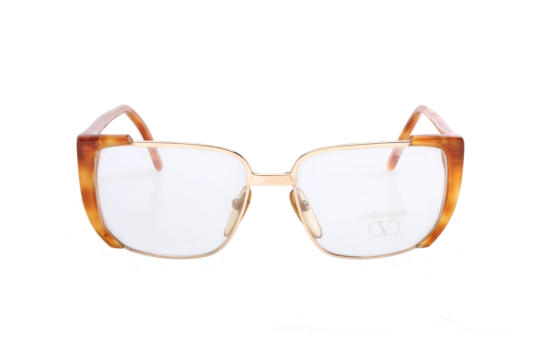 820552082b9 Valentino mod.133 squared oversize tortoise gold vintage eyeglasses frames  for ladies