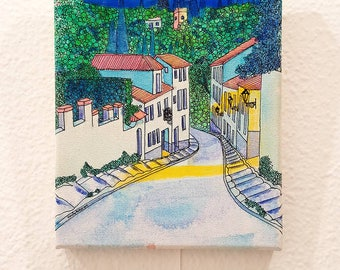 Granada Painting: La Cuesta del Chapiz - Original Painting on Canvas