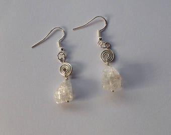 Ice Flake Quartz Earrings, Quartz Earrings, Crystal Earrings, Sterling Silver Quartz Earrings, Silver Quartz Earrings