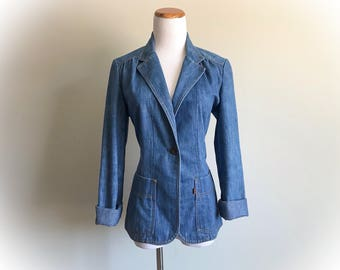 Vintage Levi's Denim Blazer Jean Jacket Orange Tab Retro 1970's Slim Tailored Women's Blue Wide Lapel Hippy Boho Cotton Levi Strauss Size 10