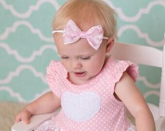Pink Lace Bow Headband, Pink Lace Headband, Lace Hair Bow, Lace Nylon Headband, Bow on Nylon Headband, Nylon Headband for Baby, Lace Bow