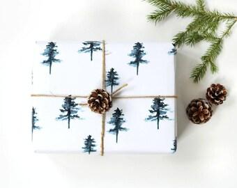 Christmas wrapping paper, christmas gift wrap, watercolor wrapping paper, watercolour gift wrap, fir tree gift wrap, scandinavian gift wrap