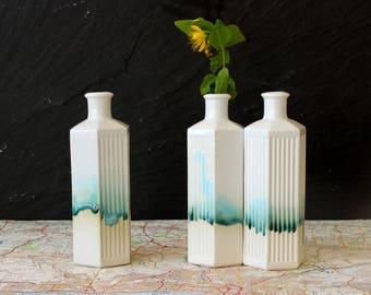 Poison bottle vase or white ceramic vase. This bud vase is modern home decor and unique ornament, kitchen decor or interior design.