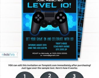 Video Game Invitations, Video Game Party Invitation, Video Game Birthday, Gaming Party Invitation, Blue - INSTANT ACCESS - Edit NOW!