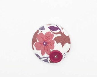 Floral Fabric - Flower Print - Fabric Brooch - Button Badge - Fabric - Sewing Gifts - Fabric Buttons - Buttons - Button Pins - Pin Badge