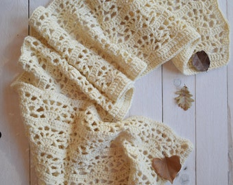 Cream stole, rectangular shawl, crochet lace scarf, wool Scaldaspalle