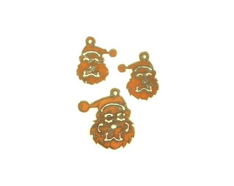 Santa Claus Rusty Metal Pendant/Charm And Earrings 3-Piece Set