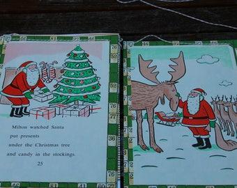 Santa's Moose Christmas Storybook Bunting (VINTAGE)