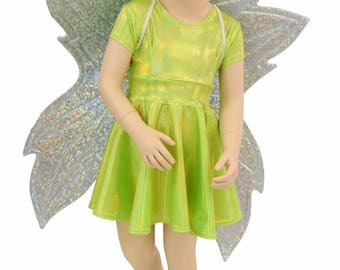 Toddlers and Girls Size 2T 3T 4T and 5-12 Lime Holographic Cap Sleeve Skater Dress + Frostbite Shattered Glass Wireless Fairy Wings - 154878