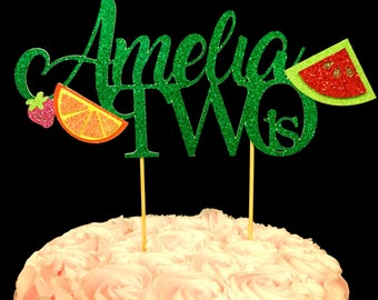 Two cake topper, Fruit birthday topper, 2nd birthday topper, birthday cake topper, two topper, 2 topper, fruit birthday, 2nd birthday decor