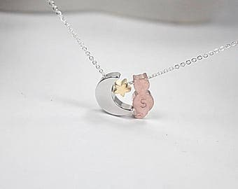 Cat on the moon necklace . I love my cat to the moon and back., kitty ,animal lover gift,.Pet Memorial Necklace, Loss of family Cat. moon