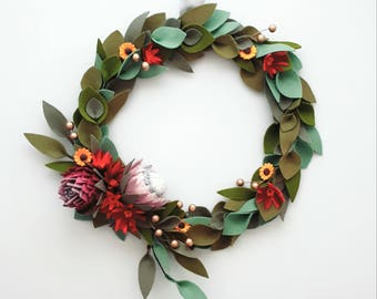 MADE TO ORDER - Large Wildflowers felt wreath, centerpiece, christmas, decoration, pure wool felt, Perth