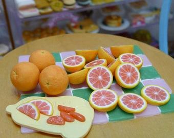 Miniature Various Fruit Slices 1:6 Scale Dolls Food Dollhouse apple, grapefruit, orange, lemon, tomato handmade by Nadia Michaux