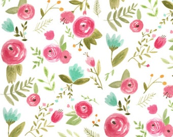Floral Cotton Fabric by the Yard Rose Fabric Quilting Organic Cotton Floral Knit Jersey Watercolor Floral Minky Fabric 4489767