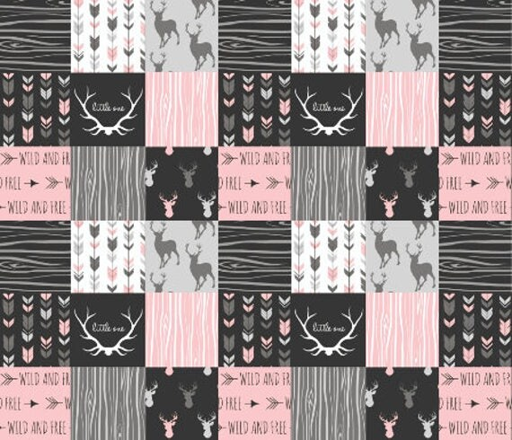 Pink Woodland Nursery Quilt Fabric by the Yard Cheater Quilt : nursery quilt fabric - Adamdwight.com