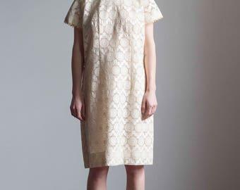1960s Cream Cotton Lace High Neck Shift Dress // Size Large