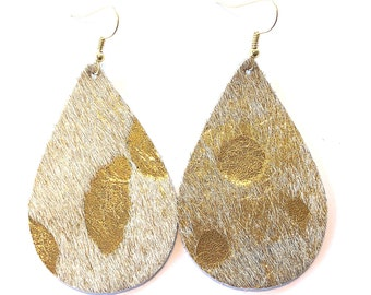 leather earrings / genuine leather / teardrop earrings / metallic leather