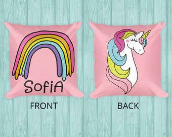 18x18 Custom Rainbow Unicorn Pillow - Nursery Decor - Gift for Girls - Girls Room Decor - Pillow or Pillow Cover - Custom Gift