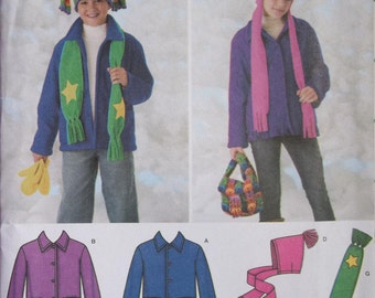 Simplicity 3948. Boys' and Girls' Jacket, Hats, Scarf, Bag and Mittens pattern. Sizes 7-14. This pattern is uncut and factory folded.