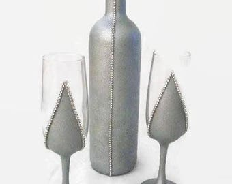 Wedding Glasses for Bride and Groom, Champagne Wedding Flutes, Wedding Toasting Glasses, Wedding Set, 3 Piece Set, Housewarming Gift Ideas