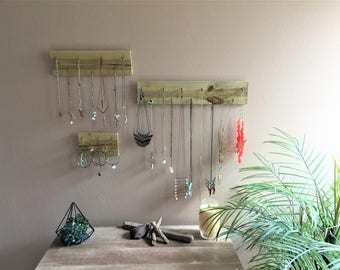 Set of 3- Jewelry organizer Wood wall hanging boho bohemian modern- bathroom bedroom decor- 3 piece gift idea rustic Simple Minimalist