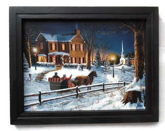 Christmas Decor, Home for the Holidays, Jim Hansel, Art Print, Seasonal Decor, Holiday Picture, Wall Hanging, 19x15 Wood Frame, Made in USA