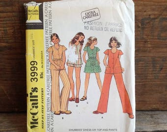 1974 Vintage McCalls Pattern. Pattern #3999. Uncut Pattern. Vintge Dress, Top, Shorts or Pants. Chubbies' Size 14-1/4. Vintage Sewing.